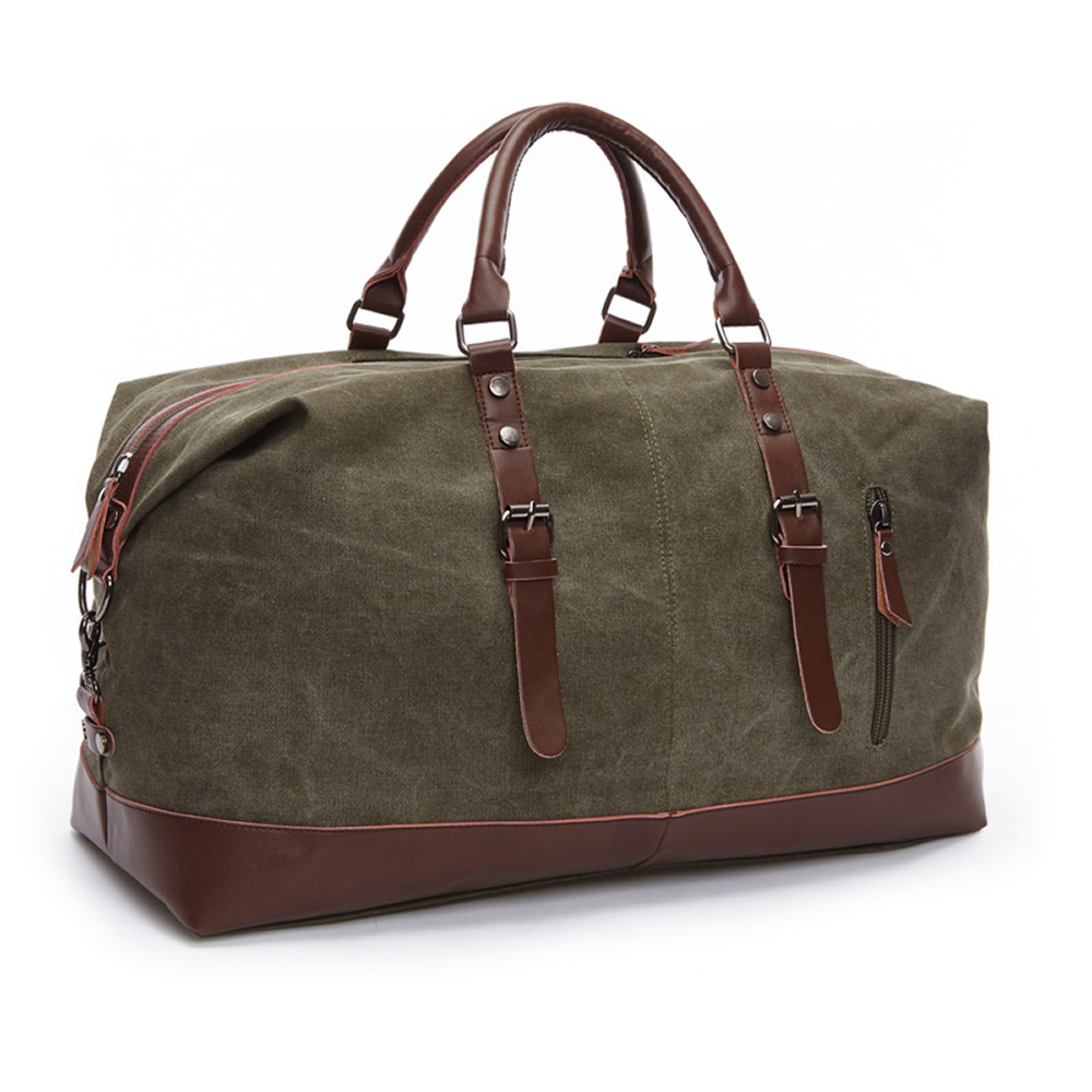 Original Canvas Leather Men Travel Bags Carry on Luggage Bags Men Duffel Bags Travel Tote Large Weekend Bag Overnight