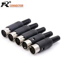 10 개/몫 13 핀 DIN 남성 삽입 플러그 납땜 오디오 AV 커넥터 DIN 플러그 잭 소켓 스프링 핸들 와이어 커넥터