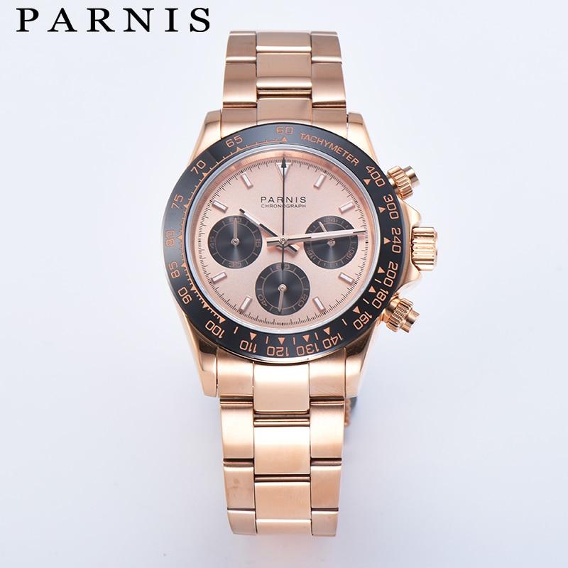 Повседневное Парнис 39 мм золотой чехол кварцевый хронограф Для мужчин часы Нержавеющаясталь браслет Водонепроницаемый сапфировое