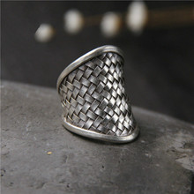 Fyla Mode New Classic Retro Style High Quality 999 Thai Silver Weave Twist Ring Men Fashion Accessories Gifts 14.50mm