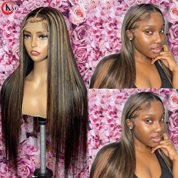 KUNGANG Highlight13*4 Lace Wigs Straight Human Hair Wigs Brazilian Front Wigs 150% Density With Baby Hair Non-Remy 1