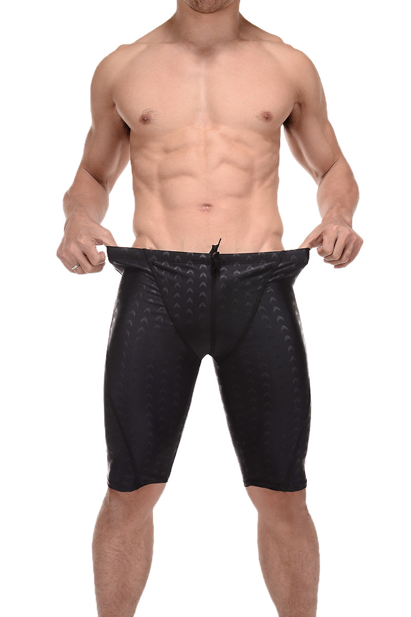 Men Faux Shark Skin Squamous Swimming Trunks Practice Water Training Racing Type Profession Short Swimming Trunks Profession Bat