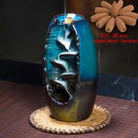 3 couleurs Backflow brûleur d'encens en céramique aromathérapie four Lotus odeur aromatique maison bureau encens artisanat porte-encens