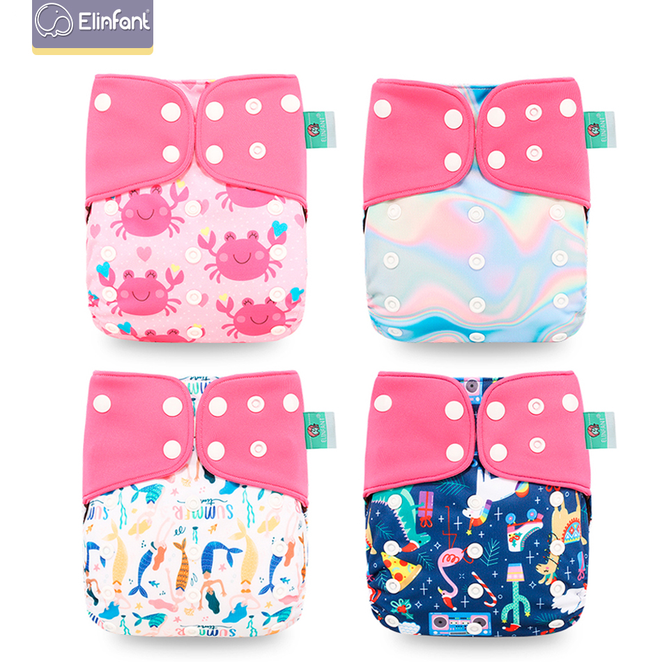 Elinfant 4pcs Baby Eco-friendly Diaper Washable Cloth Diaper Cover Adjustable Baby Nappy Reusable Pocket Diapers