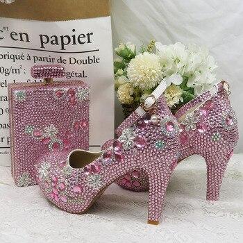Женские свадебные туфли, розовые вечерние туфли со стразами и сумочкой в комплекте, модные туфли на платформе и высоком каблуке, женские туф