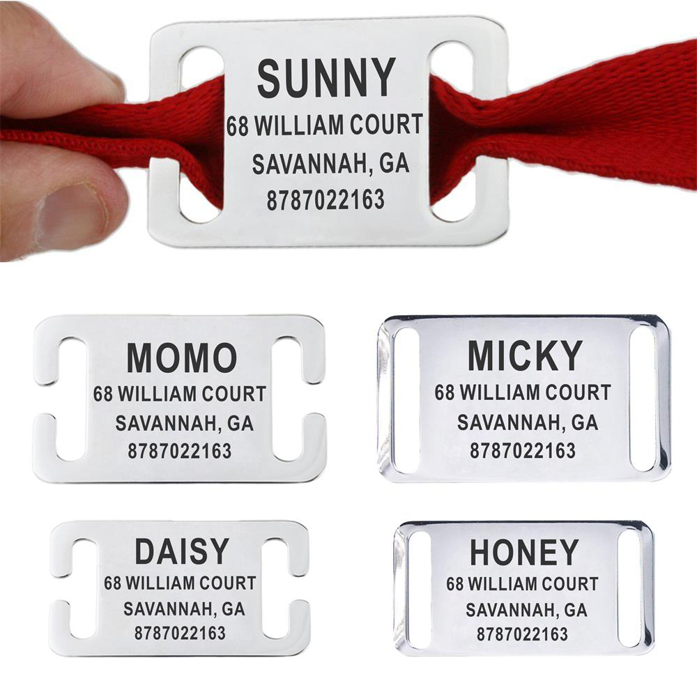 Personalized Pet ID Tag Slide-on Engraved Stainless Steel Name Tags Collar Accessories Pendant Free Engraving Dog Tags