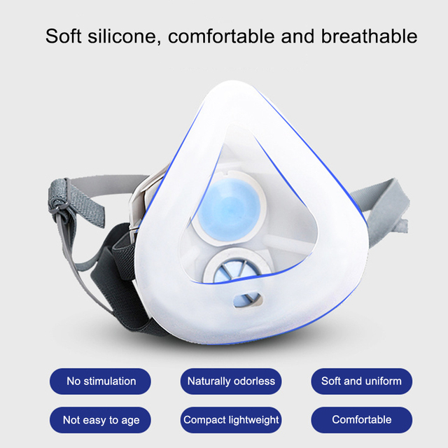 Anti Dust PM2.5 Mask Respirator Mask Industrial Protective Silicone Mask and Replaceable Cotton Anti-Dust Breathable Mask Filter 1