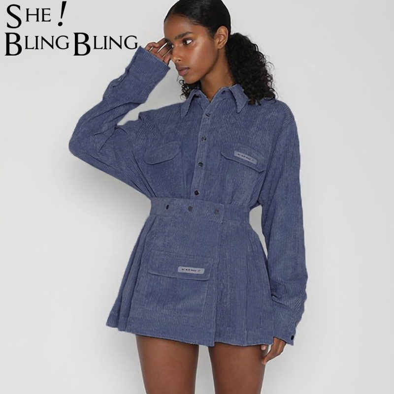 SheBlingBling Fashion Women Rib Denim Skirt Set 2019 Autumn Winter Long Sleeve Lapel Buttons Casual Coat and Mini Skirt Outfits