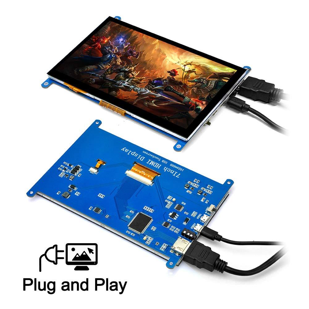 Monitor de pantalla táctil LCD HDMI TFT de 7 pulgadas, 1024x600 con estuche para Raspberry Pi 3, modelo B + Pi 4, dispositivo de TV para ordenador