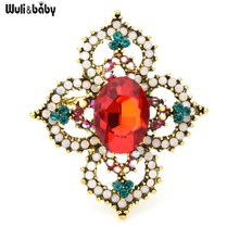 Wuli&baby Vintage Palace Style Red Green Crystal Flower Brooches Women Weddings Banquet Brooch Pins Gifts