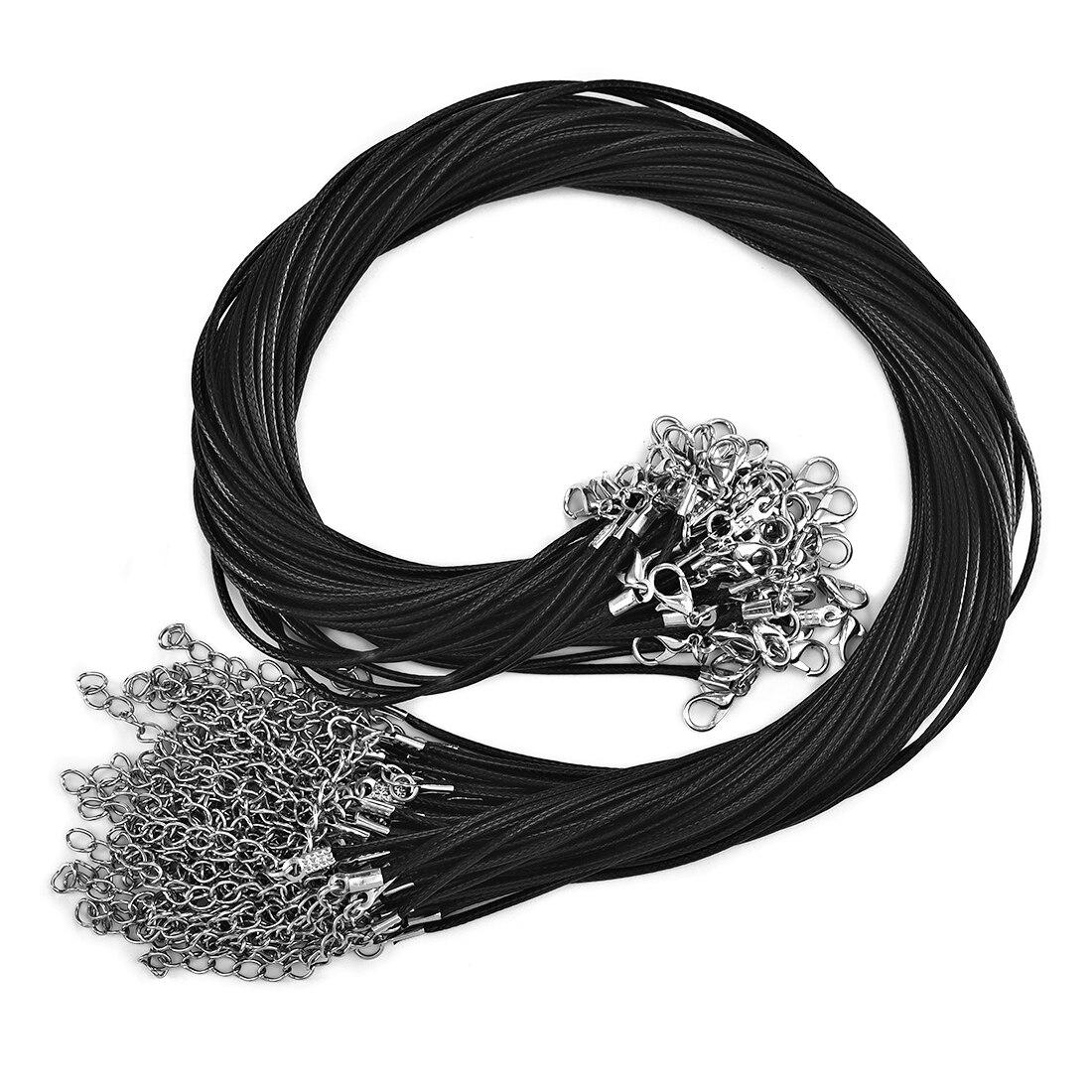 50 adet 45mm örgülü ayarlanabilir siyah deri halat balmumu kordon DIY el yapımı kolye kolye ıstakoz kanca dize kordon takı zincirleri