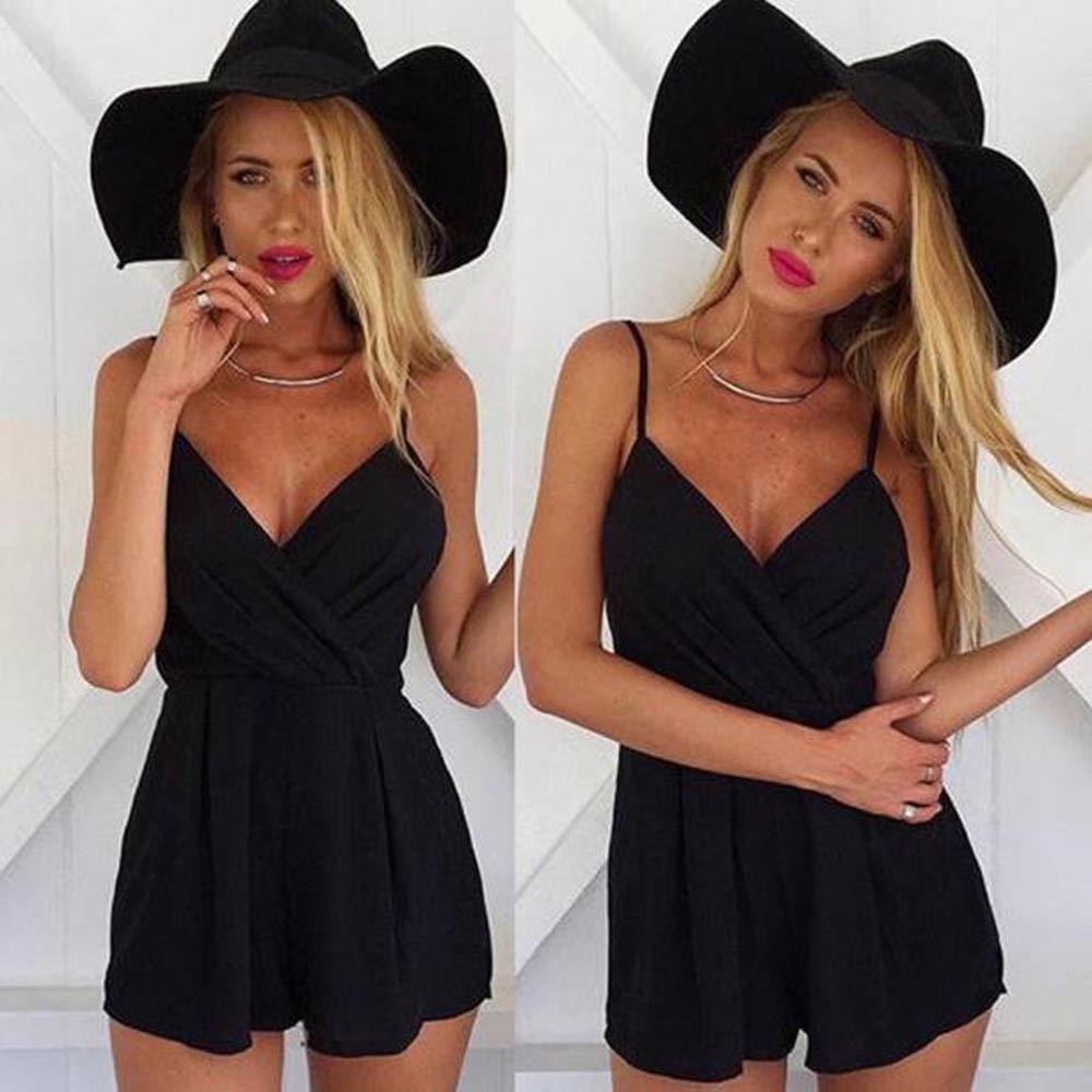 Women Loose Jumpsuit Casual Sleeveless V-neck Backless Playsuit Summer Ladies Mini Bodycon Party Clubwear Femme #YJ