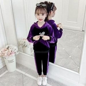 Image 2 - 子供スポーツのスーツベロアトラックスーツ4 6 8 10 12年手紙長袖女の子運動着秋冬十代の衣類のセット