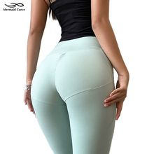 Meerjungfrau Kurven Entwickelt Für Fitness Hohe taille Leggings Frauen 30% Spandex Stretch Stoff Gym Legging Push-up Hüften Fitness Hosen(China)