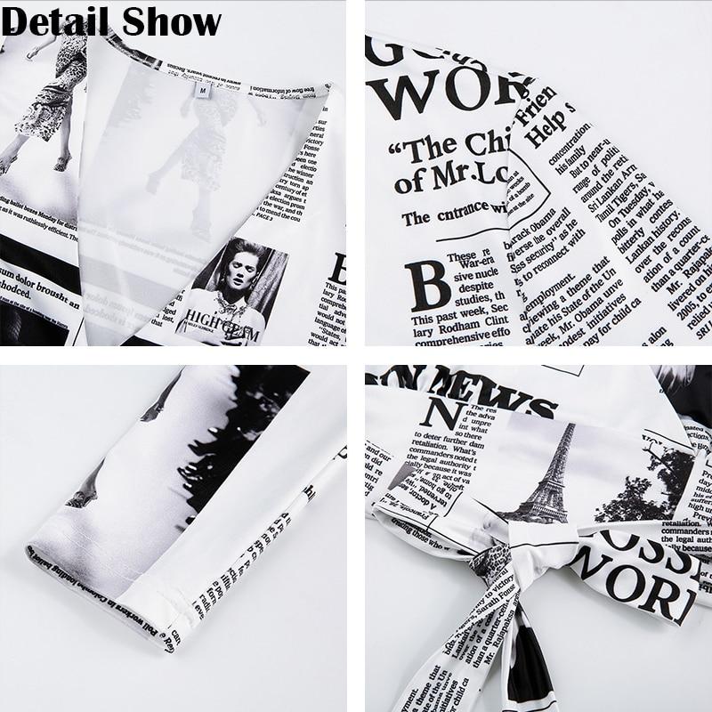 Rapwriter Fashion Newspaper Print Cross Deep V-Neck Lace-up Women's Blouse 2020 Streetwear Crop Top Long Sleeve Retro Sexy Shirt