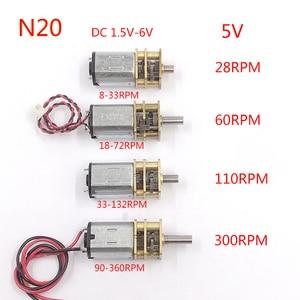 Micro Mini N20 Gear Motor DC 3V -6V 5V 28RPM 60RPM 110RPM 300RPM Slow Speed Full Metal Gearbox Reducer Electric Motor DIY Toy
