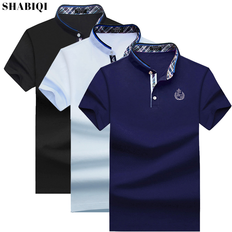 Men's Polo Shirt 2020 Summer Men's Casual Breathable Blue Stand Collar Cotton Short Sleeve Men Polos Plus Size 6XL-10XL