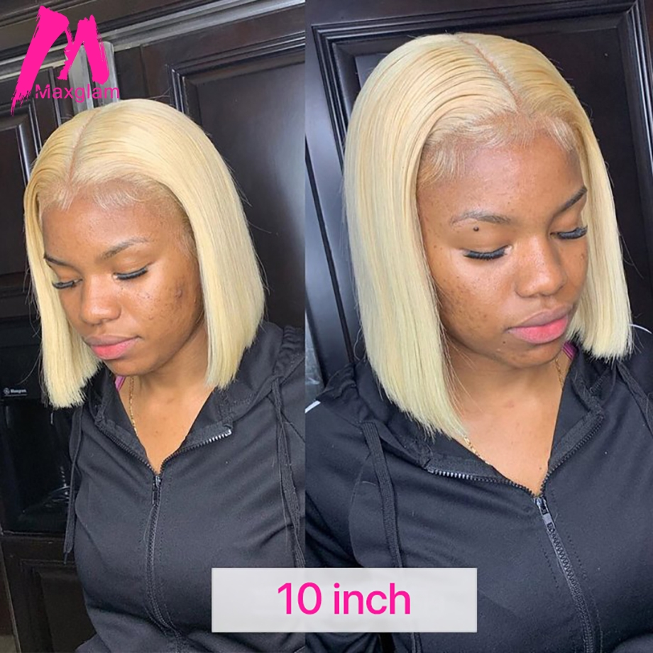 Short Bob Blonde 613 Lace Front Human Hair Wigs Brazilian Straight Long T1B/613 Afro Ombre Preplucked for Black Women Remy image
