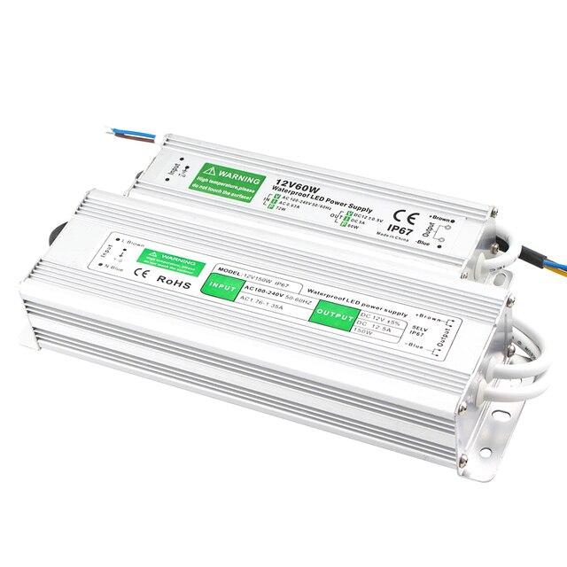 Fuente de alimentación de 110V, 220V a 12V, 24 V, 20W, 30W, 50W, 80W, IP67, resistente al agua, CA, CC, 12V, 24 V, Controlador led de 12V y 24 V