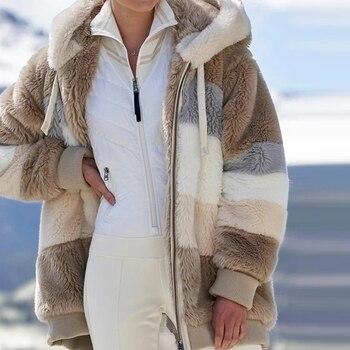 2020 Winter Women Coat Fashion Plush Patchwork Zipper Pocket Hooded Jacket Lady Long Sleeve Plus Size Loose Warm Outerwear 1
