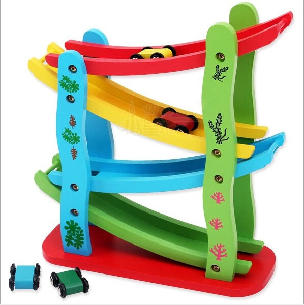 Children's Early Childhood Educational Toys Glide Stretch Scooter Wooden Scooter Roller Coaster Luge Wholesale