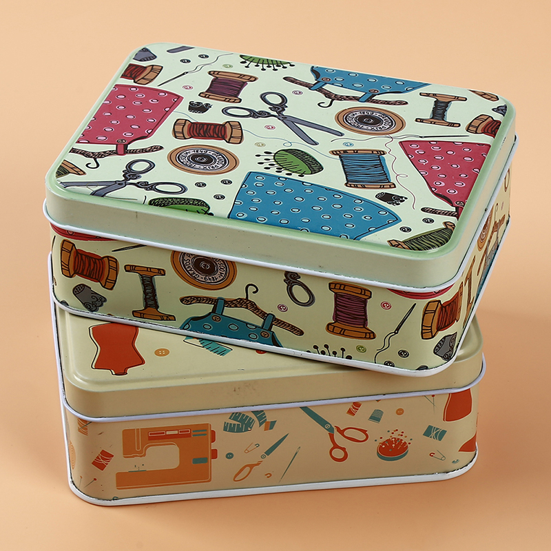 Popular Metal Iron Box Cosmetic Box Sewing Kit Tin Box Thread Stitching Embroidery Craft Sewing Kits Home Organizer