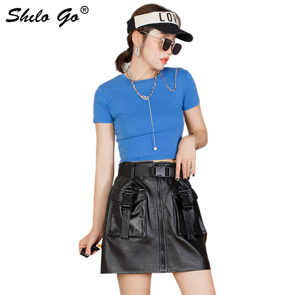 Genuine Leather Skirt Safari Style Buckle Belted Zip Front Sheepskin A Line Skirts Women Autumn Casual Double Pocket Skirts