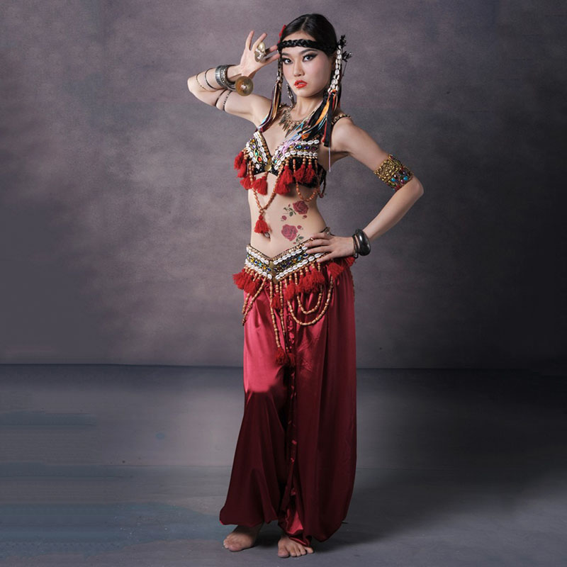 Women ATS Tribal Belly Dance Costume Set 3pc Bra Belt Pants Red Gypsy Dancwear Indian Bellydance Clothing Dancing Outfit Clothes