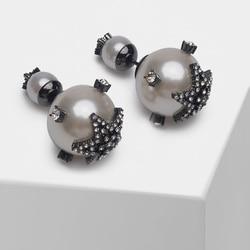 Estrela design elegante frente e brincos de parafuso prisioneiro traseiro
