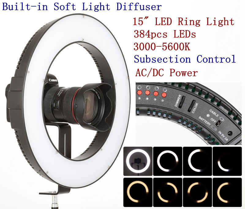 Falcon Eyes DVR-384DVC 23W 384 Ring LED Panel 3000-5600K Lighting Video Film Continuous Light for TV Anchor//Portrait Photography//Youtobe Vine Video Shooting//Makeup