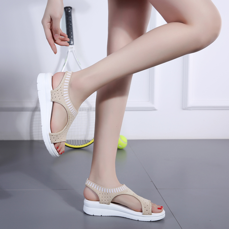 H62fc7c42453647968706a7f748cfbcfd7 - Sandals Women Fashion Breathable Comfort Ladies Sandals Summer Shoes wedge Black White Sandal