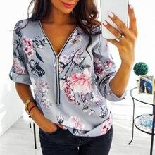 Na zamek błyskawiczny koszulka z dekoltem v S-5XL bluzka w rozmiarze Plus Size biurowa, damska bluzki bawełniane nowa moda pasuje Vintage, w kwiaty koszule z nadrukiem Dot Mujer Blusas