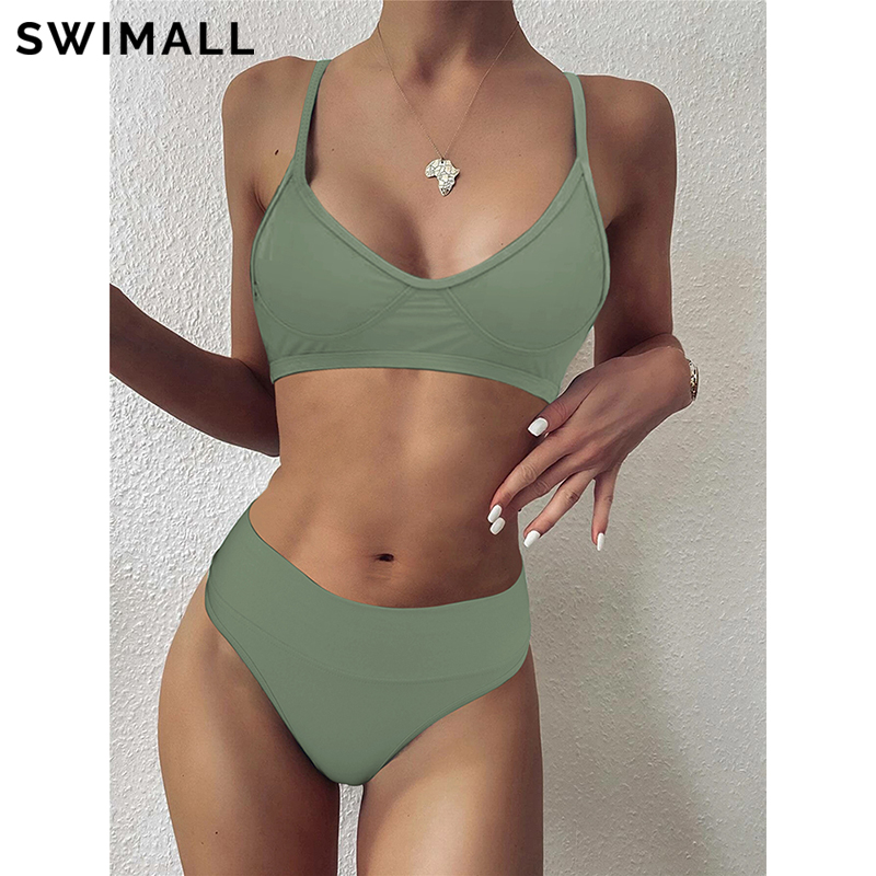 2021 Sexy Solid Bikini Swimsuit Women High Waist Bikini Set Two Piece Swimwear Female Push Up Bathing Suit Summer Bather Biquini