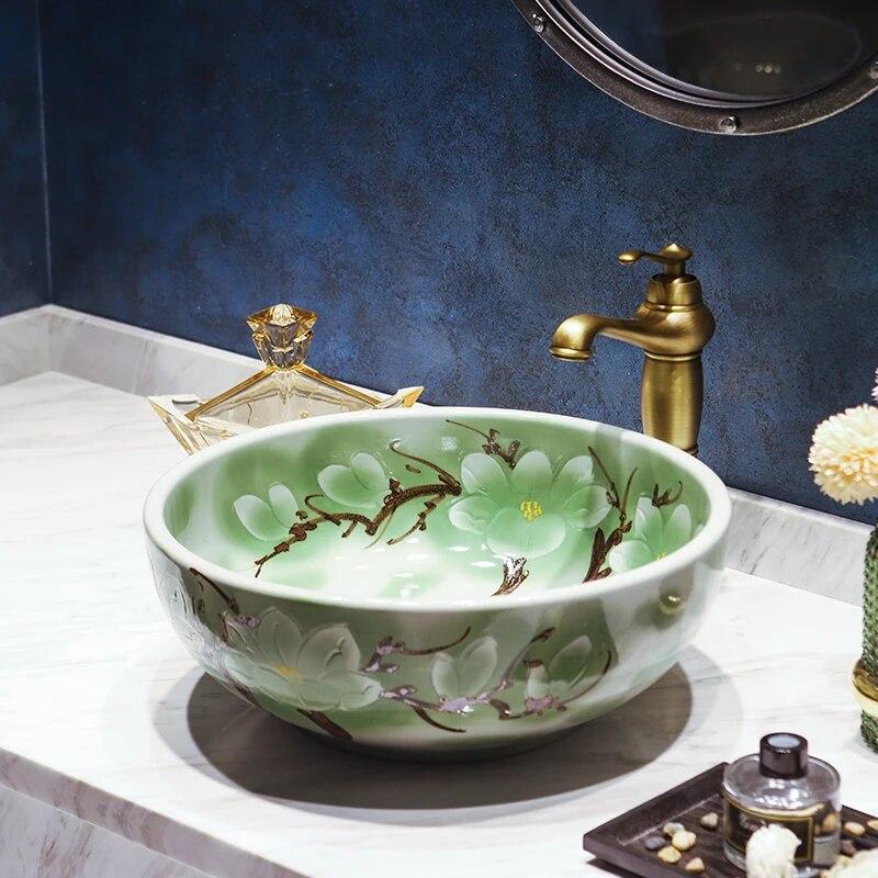 Countertop Washbasins Ceramic European Washbasin Bathroom Vanities Ceramic Art Basin Bathroom Sink Bathroom Sinks Aliexpress