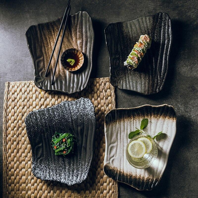 1 шт. 10-дюймовая креативная керамическая тарелка для суши в японском стиле, неправильная плоская тарелка, черная тарелка для завтрака, домаш...