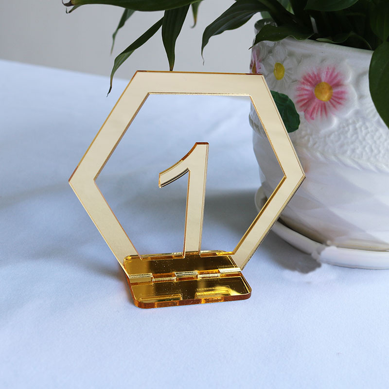 Hexagon Table Number Signs for Wedding Party Decor Silver Gold Acrylic Number Birthday GeometricTable Seat Card Roman Numerals