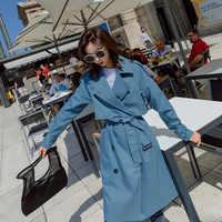 2019 gabardina de Mujer con cuello vuelto gabardina larga con cinturón Casaco Feminino Harajuku Abrigo Mujer Trench Femme
