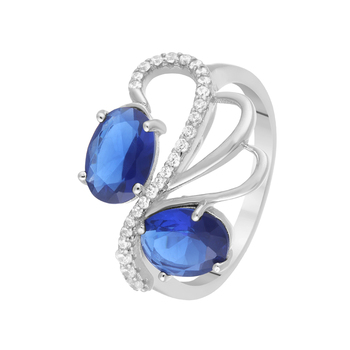 Кольцо из серебра с ситаллом и фианитами R00151