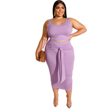Adogirl casual snap tank dress waist bandage basic tube chemise plus size 5xl midi dress low cut cinch big size dress skinny set plus size low cut tie dye tank top
