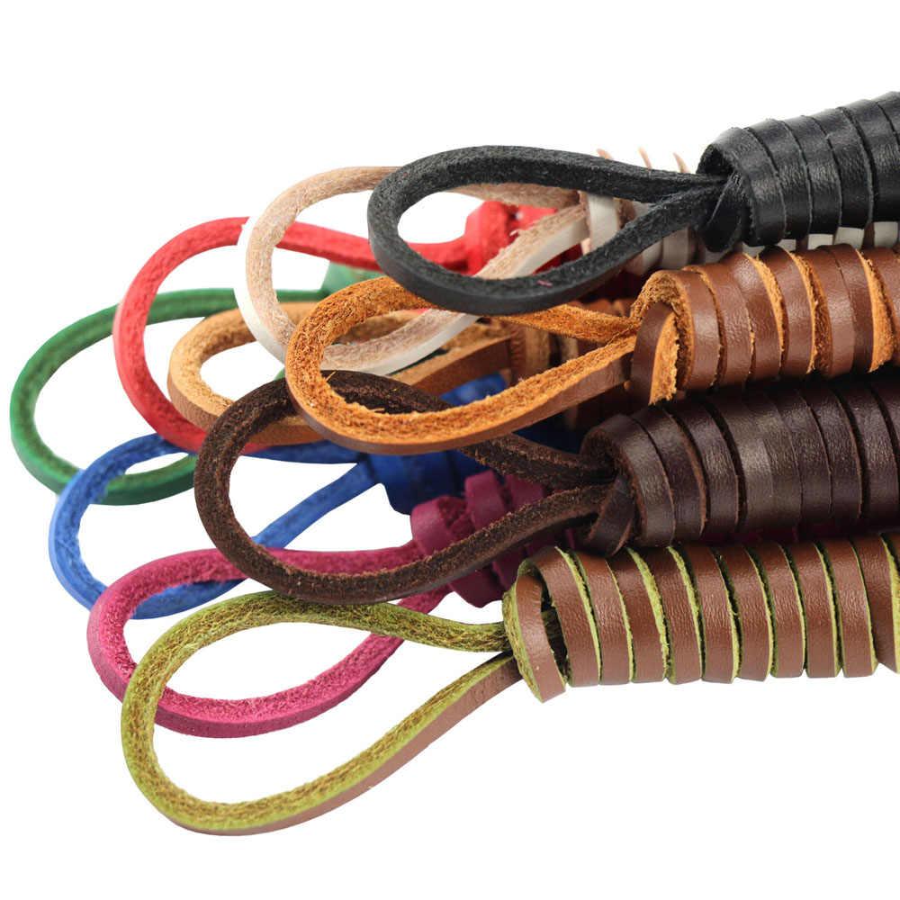 1 คู่แท้ Cowhide สแควร์ Shoelaces เหมาะสำหรับเรือรองเท้ารองเท้าหนัง Laces คลาสสิก Retro รองเท้าบู๊ตยี่ห้อคุณภาพสูงร้อน