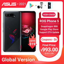 Original ASUS ROG Phone 5 Global Version Snapdragon888 16GB RAM 256GB ROM 6000mAh 65W NFC Android Q OTA Update Gaming Phone ROG5