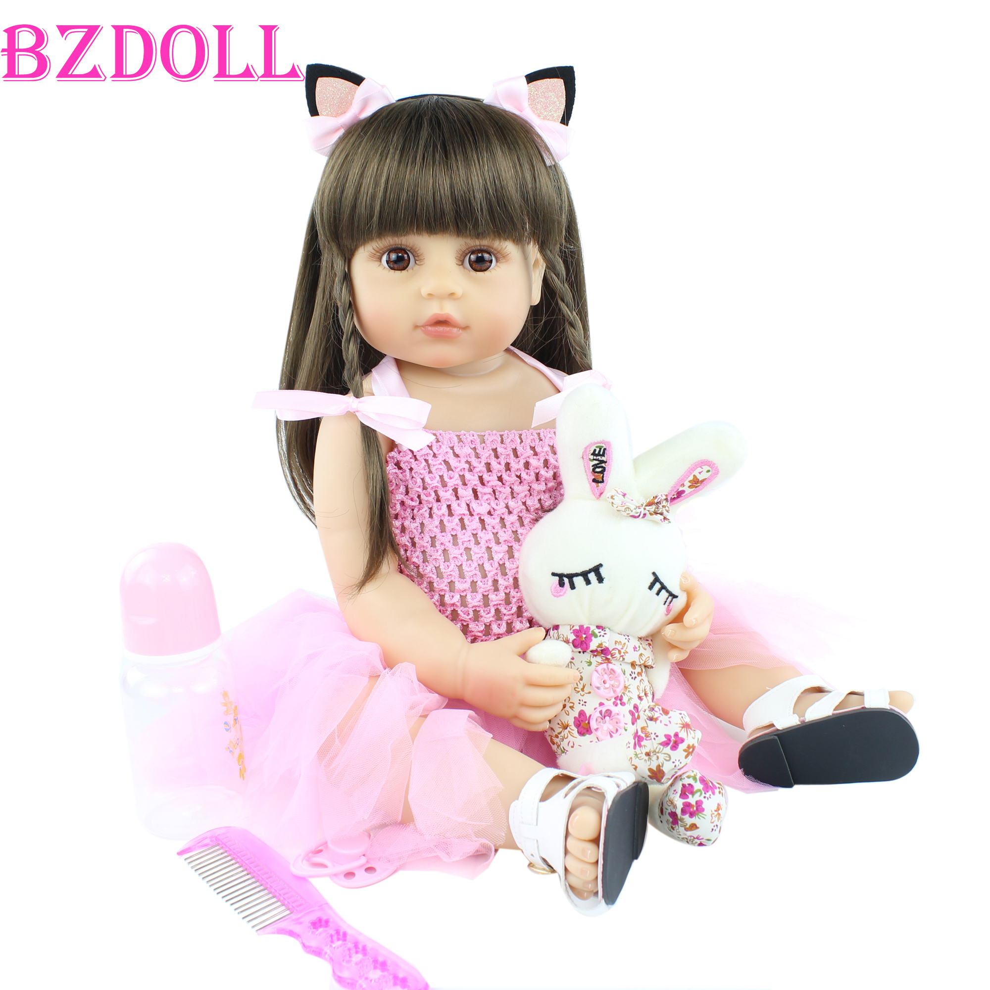 55cm Lifelike Baby Reborn Doll For Girl Full Body Soft Silicone Newborn Toddler Bebe Boneca Kid Birthday Gift Popular Bath Toy