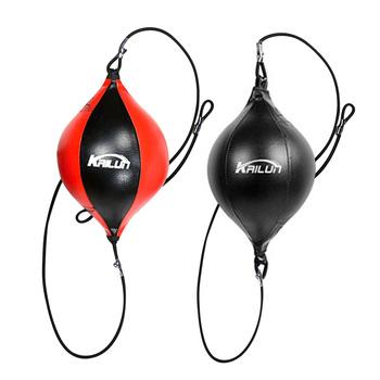 Jakościowy projekt Pu skóra wykrawania piłka gruszka worek bokserski Reflex prędkość piłki trening Fitness zakończone z dwóch stron piłka refleksowa do boksu tanie i dobre opinie CN (pochodzenie) BoxingSpeed Ball