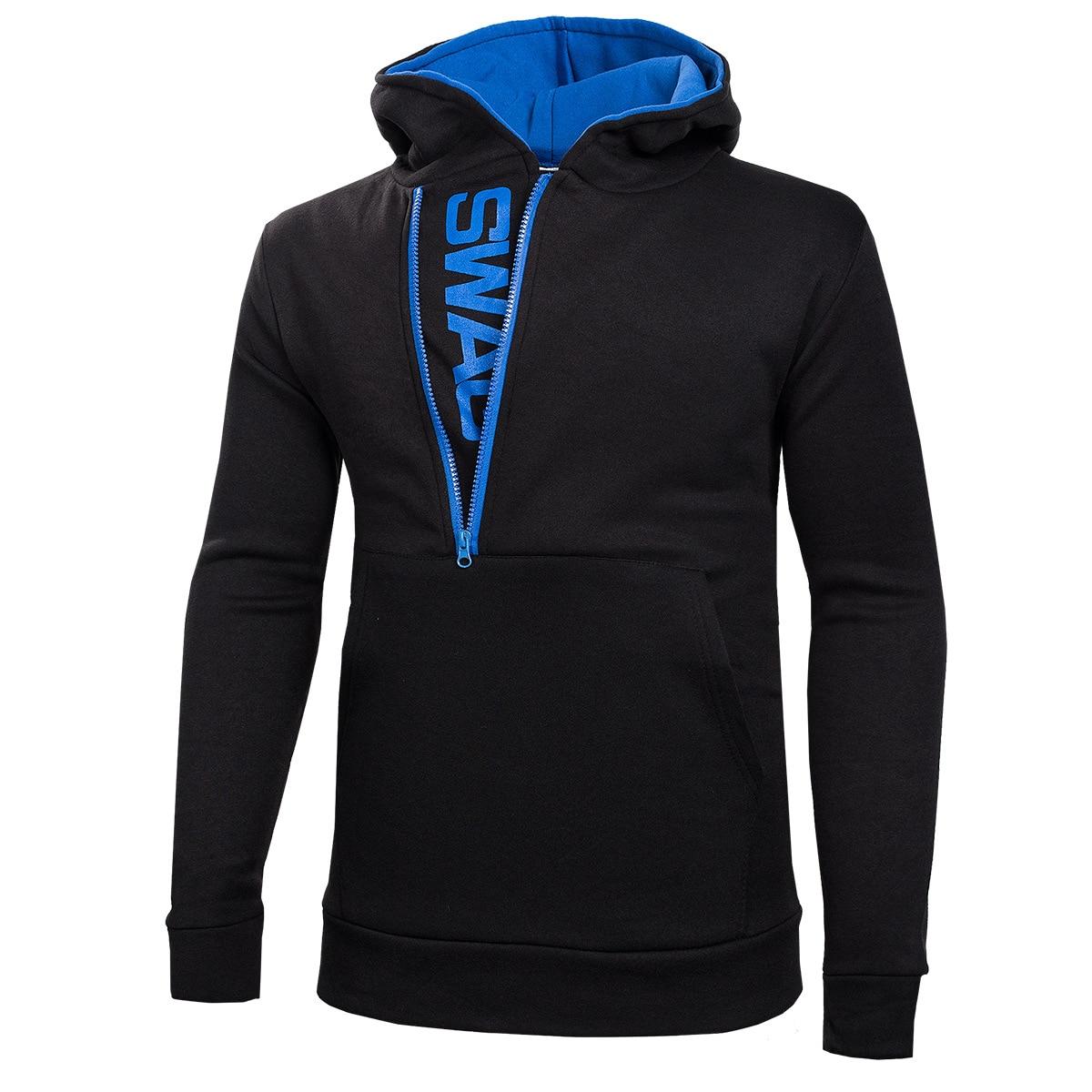 Men's Sweatshirt Letter Side Zip Men's Hooded Jacket Mens Black Hoodies Clothes 2019 Plus Size XXXL 4XL 5XL 6XL