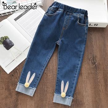 Ours Leader filles jean 2019 automne dessin animé lapin boule Pantalon enfants crayon Leggings bleu clair Pantalon Fillette 3-7Y