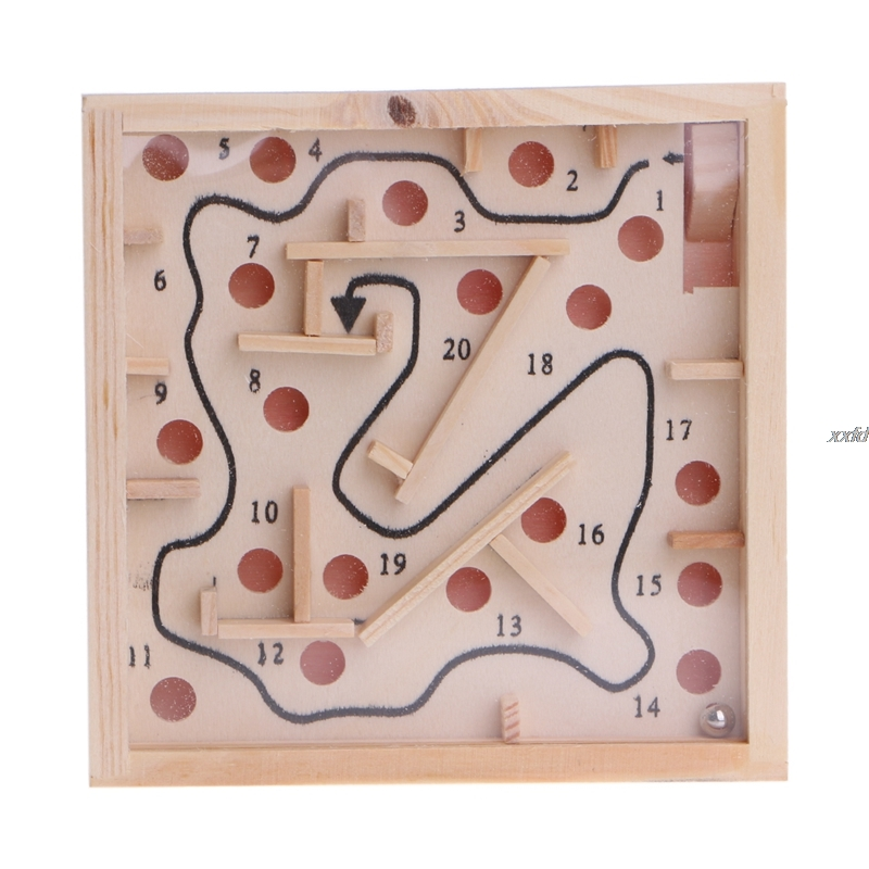 Children Kid Wooden Maze Balance Labyrinth Game Toys Intellectual Early Learning