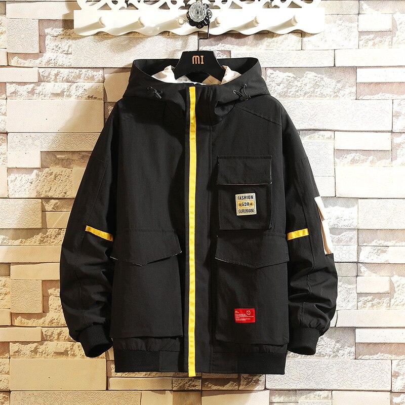 Spring New Mens Jacket Coat Male Hoodies Coats Hip Hop Hooded Patchwork Men Black Couple Streetwear Hoody Bomber Jacket M-5XL