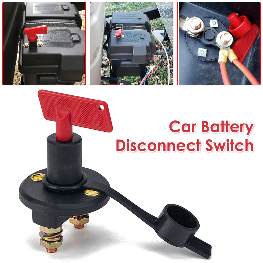 12V 24V 200A Car Battery Disconnect Switch Kill Cut Off Switch Isolator with Waterproof Dust Cover for Marine SUV ATV Truck Boat