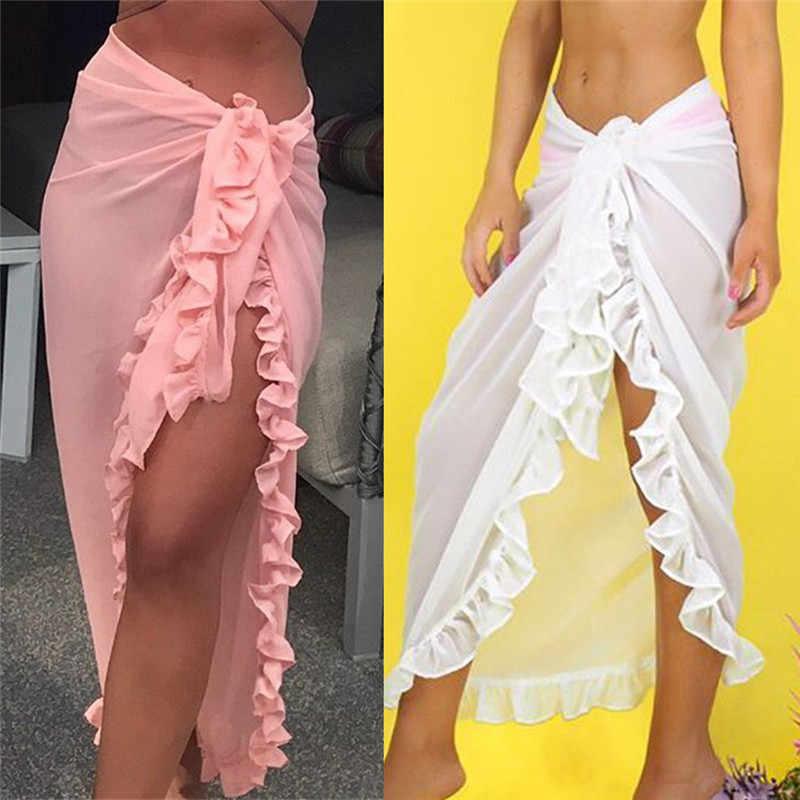 Femmes plage cache maillot de bain pure à volants plage Maxi jupe Sarong paréo Zaful longue robe Bikini cache plage pantalon baigneur