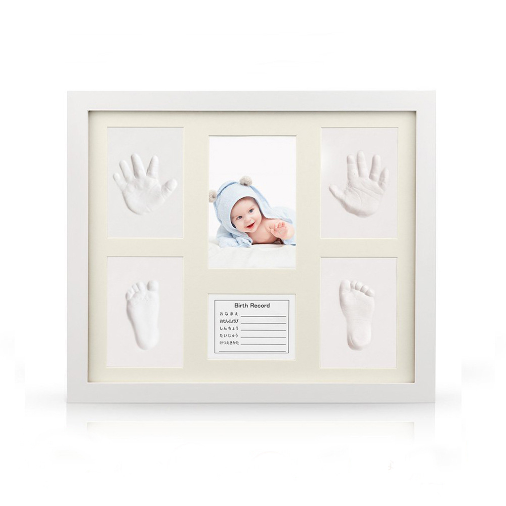 Baby Hand Foot Print Mud Mold Maker Solid Wooden Photo Frame Set Newborn Growth Memorial Gift With Japanese English German Card